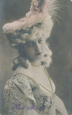 Beautiful Lady with Fancy Hat * Prosit Neujahr New Year RPPC ca. 1911 Tinted