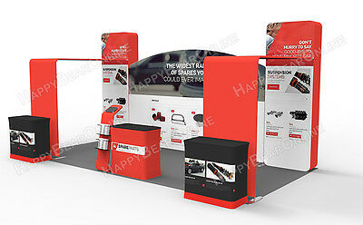 Trade show waveline 20ft x 10ft fabric exhibition booth with graphic 2020-03