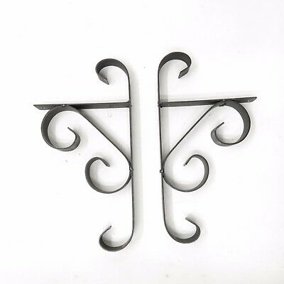 Vtg Black Wrought Iron Scrolling Shelf Brackets Gothic Spanish Revival Pair