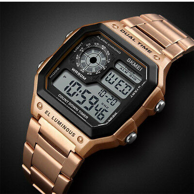 Men Digital Quartz Wrist Watch Sport Army Waterproof LED Gold Stainless Steel CZ