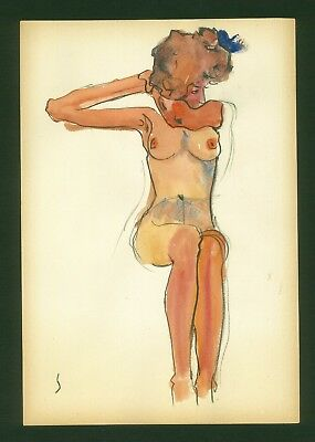 EGON SCHIELE - watercolor on original paper of 10's-Viennese secession