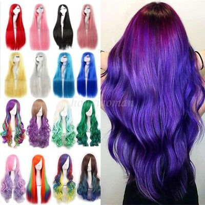 Colorful Girls Anime Wig Long Straight Curly Heat Resistant Cosplay Halloween #N
