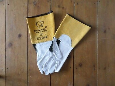 1 Pair Of New Parweld P3838 Panther Leather Tig Welding Gauntlets Gloves Size 10