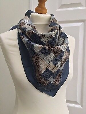 Vintage Jean Parel Geometric Pattern Shades Of Grey/blue  Hand Rolled Silk Scarf