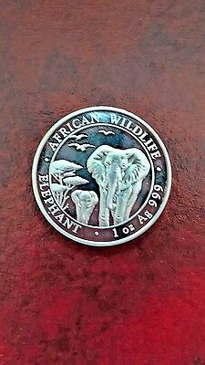 Africa African Life 2015 100Shillings Somalia Silver Unc Coin 1 Oz .999 Elephant
