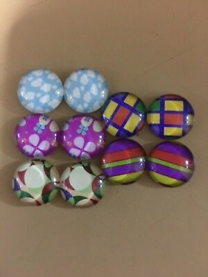 Set Of 5 Pairs X 12mm Glass Dome Cabochons - Assorted Mixed Designs(L)