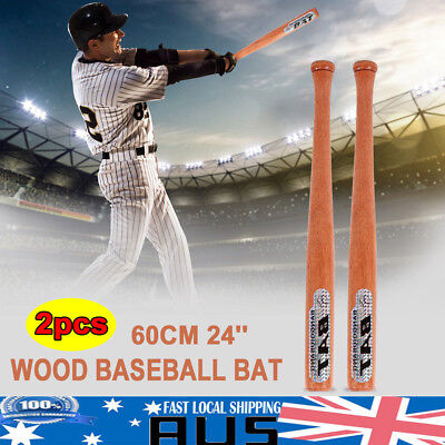 "2PCS 24"" 60cm Wood Baseball Bat Self Defense Family Safety Exercise Sports"