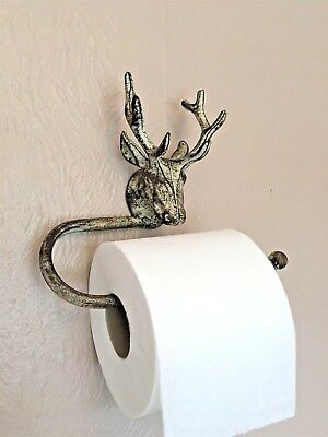 Stag Head Toilet Roll Holder Vintage Style Metal Rustic Wall Rack Shabby Chic