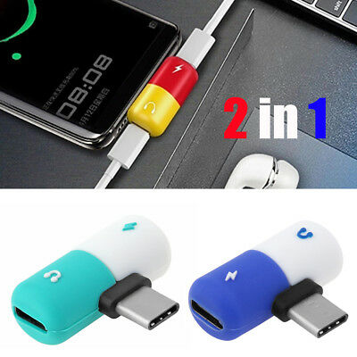 2 In 1 Dual Type-C Adapter Headphone Audio Jack Charging Converter for Samsung