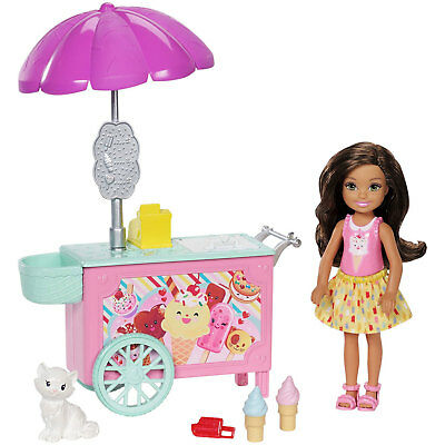 Barbie Club Chelsea Ice Cream Cart Playset with Doll & Pet (FDB33) by Mattel