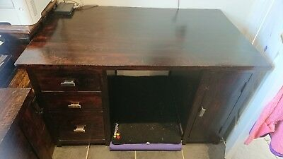 Solid, dark wood computer, office desk with drawers, cupboard, can shabby chic?