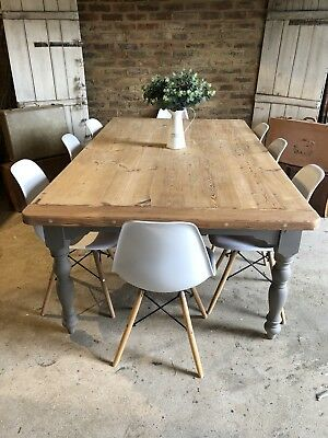 Rustic Farmhouse Pine Kitchen Dining Refectory Table 10 seater