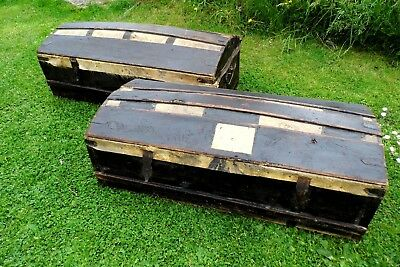 18th century TWO PINE carriage trunks chest box c1800 Georgian antique