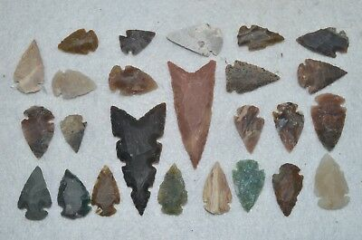 """23 PC Flint Arrowhead Ohio Collection Points 2-3"""" Spear Bow Knife Hunting Blade"""
