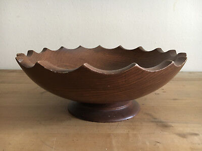"""vntage Woodcroftery Wood Bowl Salad Scalloped Edges 11"""" D mid century hand made"""
