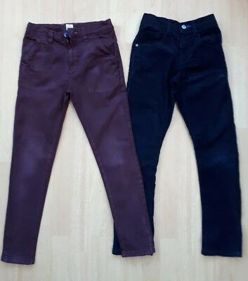 2 pairs of boys smart jeans age 9 years burgundy and navy blue cord Next