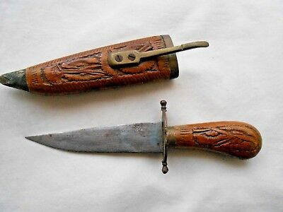 vintage old HAND CARVED WOOD AND BRASS KNIFE....MADE IN INDIA...