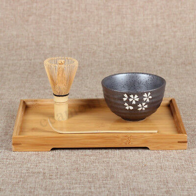 3 PCS Japanese Tea Ceremony Matcha Ceramic Tea Bowl Bamboo Scoop Set Gift