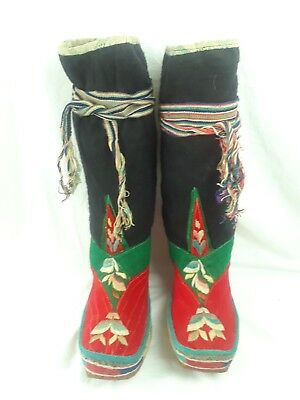 Authentic Antique Tibetan Boots With Ties Hand Made Wool And Leather Rare Boots