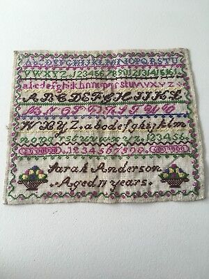 antique embroidery sampler coulourful