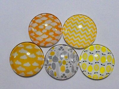 Set Of 5 X 25mm Glass Dome Cabochons - Assorted Yellow Designs (2)
