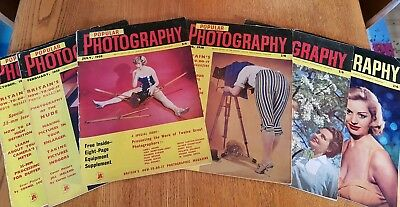Popular Photography Magazine 1957,1958, 6 Issues Vintage