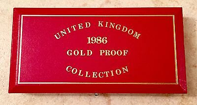 1986 Gold United Kingdom Proof 3 Coin Collection Set Royal Mint Box -No Coins-