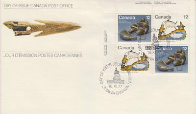 Canada #748-749 12¢ Inuit - Hunting Ul Plate Block First Day Cover