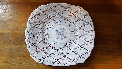 Antique Gaudy Welsh Cake Plate - Rare Coral Pattern