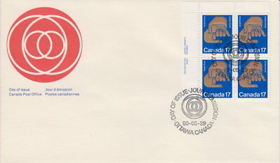 Canada #856 17¢ Helping Hands Ul Plate Block First Day Cover