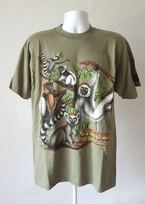 Vintage L T-shirt 1998 Ken Drewke Lemurs of Madagascar Lake Superior Zoo Duluth