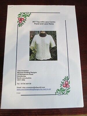 Top with Lace Panel & Lace Hems, knitting machine pattern by Claire Crowston