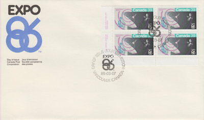 Canada #1079 39¢ Expo 86 Ll Inscription Block First Day Cover
