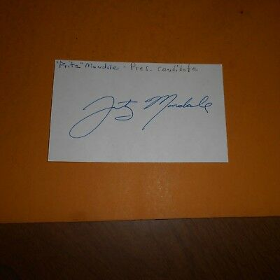 Walter Mondale Former Vice President of the United States Hand Signed Index Card