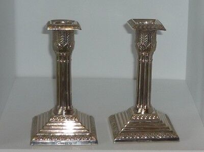 Antique Pair Of Silver Plated Candlesticks By Walker & Hall
