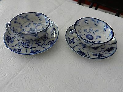 Antique 19c 2 SETS Chinese Blue & White Teacups & Saucers in Excellent Condition