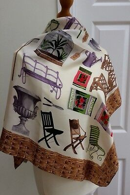 Gardening Themed Silk Scarf By Echo