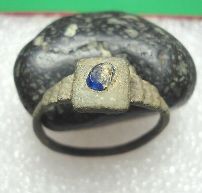 Ancient Roman Bronze Ring with a Blue Stone Original Authentic Antique Rare R463