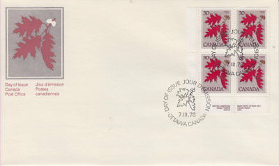 Canada #720 30¢ Tree Definitives - Red Oak Ll Plate Block First Day Cover