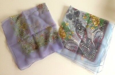 2 sheer vintage nylon chiffon scarves with floral design