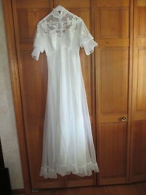 Vintage 60's 70's Hippie Lace High Neck Wedding Dress