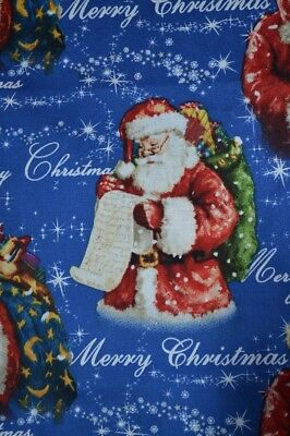 job lot 5 yards of blue Christmas fabric 1 lot only