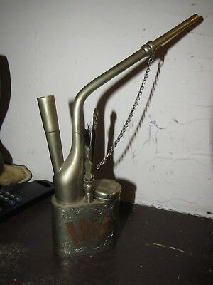 Antique vintage  BRASS etched INLAID CHINESE WATER PIPE smoking tobacco