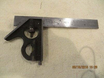 Vtg. Brown & Sharpe 6 Inch Hardened & Tempered MACHINIST No.4 Combination Square