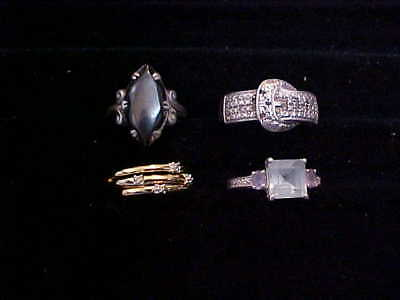 Lot Of 4 Ladies Vintage Sterling Silver Rings Size 6 #1