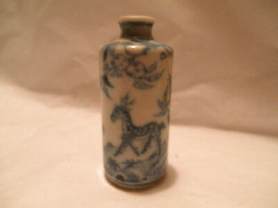 Antique Chinese Blue And White Deer Snuff Bottle