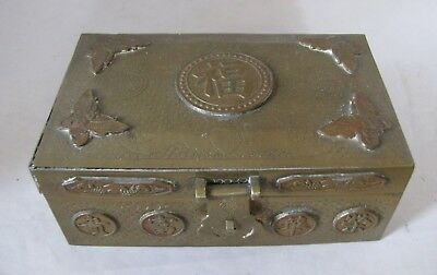 Vintage Chinese Bronze or Brass Etched Trinket Jewelry Box Butterflies, Rats