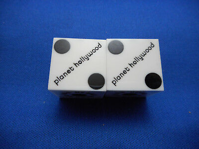 Pair of PLANET HOLLYWOOD LV Casino Dice - White, Matching #s