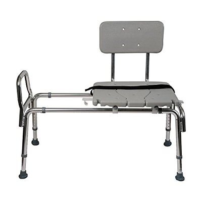 Duro-Med Heavy-Duty Sliding Transfer Bench Shower Chair with Cut-out Seat and to