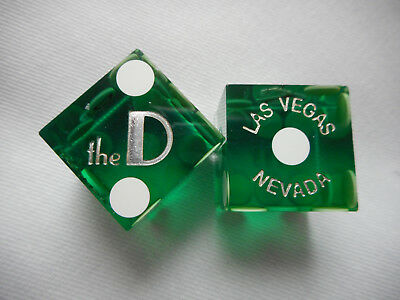 Pair of THE D DLV Casino Dice - Clear Green, Matching #s